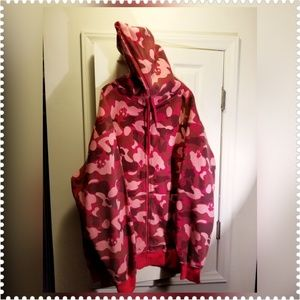 FLIP MCGYVER RED CAMOUFLAGE FULL ZIPPERED HOODIE